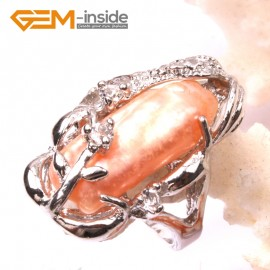 G2846 pink 10x20mm popular pearl white gold plated ring #6 - #8 send by random size Rings Fashion Jewelry Jewellery