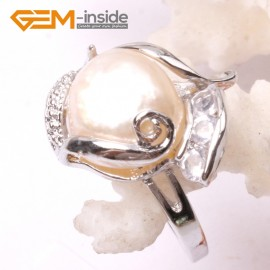 G2848 white 11-12mm Pearl Beads White Gold Plated Ring US size #6 - #8 ,Sent By Random Rings Fashion Jewelry Jewellery