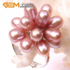 G2852 purple 5-6mm nice pearl white gold plated ring adjustable size Rings Fashion Jewelry Jewellery