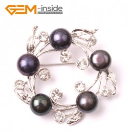 G2862 black  freshwater pearl white gold plated anade brooch 40mm  Brooch Pin Fashion Jewelry Jewellery