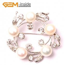 G2863 white  freshwater pearl white gold plated anade brooch 40mm  Brooch Pin Fashion Jewelry Jewellery