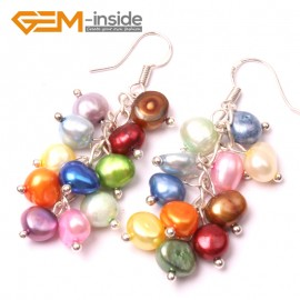 G2917 mixed color Fashion 5-6mm x 7-8mm Freshwater Pearl Beads Dangle Earrings Fashion Jewelry Ladies Earrings Fashion Jewelry Jewellery