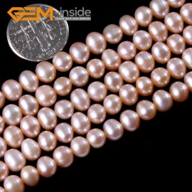 "G3176 PINK 7-8mm Near Round Colorful Freshwater Pearl Gemstone Loose Beads Strand 15"" Natural Stone Beads for Jewelry Making Wholesale"
