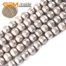 "G3192 SILVER GRAY 9-10mm Cultured Pearl Beads Jewelery Making Gemstone Loose Beads Strand 15"" Natural Stone Beads for Jewelry Making Wholesale"