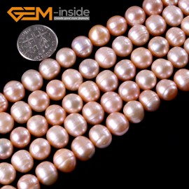"G3195 PINK 9-10mm Cultured Pearl Beads Jewelery Making Gemstone Loose Beads Strand 15"" Natural Stone Beads for Jewelry Making Wholesale"