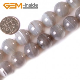 """G3333 14mm Round Gemstone Gray Banded Agate Jewelry Crafts Making Stone Beads 15"""" Natural Stone Beads for Jewelry Making Wholesale"""