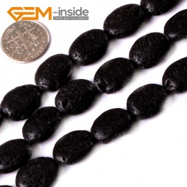 """G3364 12x16mm Oval Black Lava Rock Jewelry Making Gemstone Loose Beads Strand15"""" GBeads Natural Stone Beads for Jewelry Making Wholesale"""