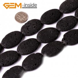 """G3374 20x30mm Oval Black Lava Rock Jewelry Making Gemstone Loose Beads Strand15"""" GBeads Natural Stone Beads for Jewelry Making Wholesale"""