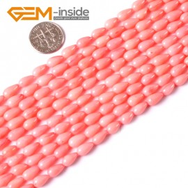 "G3460 5x9mm Pink Drop Coral Beads Jewelry Making Gemstone Loose Beads Strand 15"" Natural Stone Beads for Jewelry Making Wholesale"