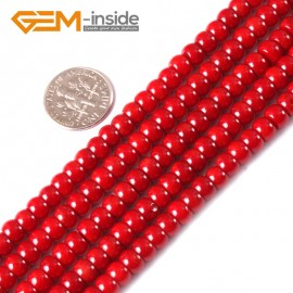 "G3489 4x6mm Rondelle Red Coral Beads Jewelry Making Gemstone Loose Beads Strand 15"" Gbeads Natural Stone Beads for Jewelry Making Wholesale"