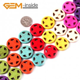 "G3618 20mm Gemstone Dyed Mixed-Color DIY Jewelry Crafts Making Howlite Stone Beads 15""  Natural Stone Beads for Jewelry Making Wholesale"