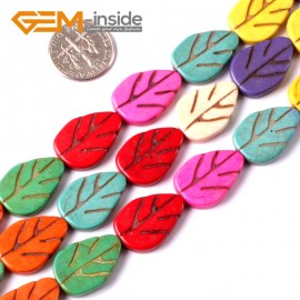 "G3632 13.5x19.5mm Leaf Gemstone Dyed Mixed-Color DIY Jewelry Crafts Making Howlite Stone Beads 15""  Natural Stone Beads for Jewelry Making Wholesale"