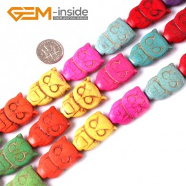 "G3639 18x28mm Totem Gemstone Dyed Mixed-Color DIY Jewelry Crafts Making Howlite Stone Beads 15""  Natural Stone Beads for Jewelry Making Wholesale"