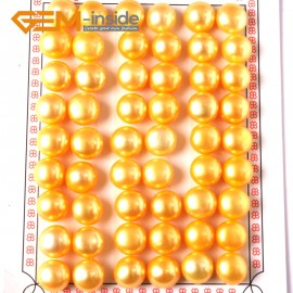 G3949 golden yellow Button Shape Half Drilling  Pearl Beads 27 Pairs for Earrling and Ring 10-10.5mm Ladies Earrings Fashion Jewelry Jewellery
