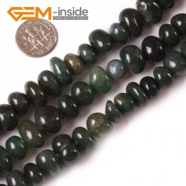 "G3989 moss agate 8-10x12-14mm Freeform Potato Gemstone Jewelry Making Loose Beads Strand 15"" Natural Stone Beads for Jewelry Making Wholesale"