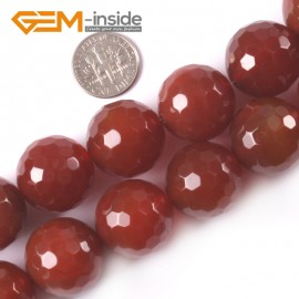 "G4054 20mm Round Faceted Gemstone Red Agate DIY Jewelry Making Loose Beads Strand 15"" Natural Stone Beads for Jewelry Making Wholesale`"