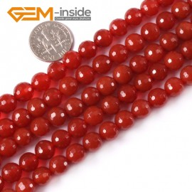 "G4056 8mm Round Faceted Gemstone Red Agate DIY Jewelry Making Loose Beads Strand 15"" Natural Stone Beads for Jewelry Making Wholesale`"