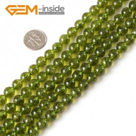 "G4062 8mm Round Gemstone Green Dyed Peridot Quartz Jewelry Making Loose Beads Strand 15"" Natural Stone Beads for Jewelry Making Wholesale"