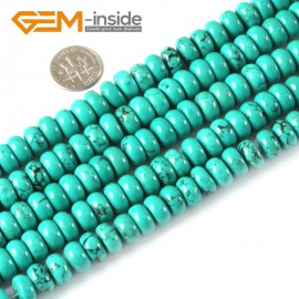 "G4077 4x10mm Rondelle Gemstone Natural Turquoise Loose Beads Strand 15"" Jewelery Making Beads Natural Stone Beads for Jewelry Making Wholesale"