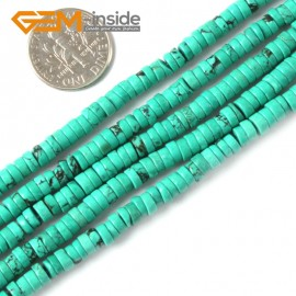 "G4082 2x4mm Rondelle Gemstone Natural Turquoise Loose Beads Strand 15"" Jewelery Making Beads Natural Stone Beads for Jewelry Making Wholesale"
