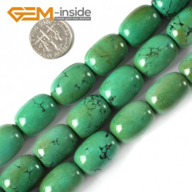 """G4096 13x18mm Column Gemstone Old Natural Turquoise Jewelry Making Stone Loose Beads 15"""" Natural Stone Beads for Jewelry Making Wholesale"""