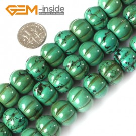 G4104 12x15mm Pumpkin Shape Gemstone Old Natural Turquoise Jewelry Making Loose Stone Beads Natural Stone Beads for Jewelry Making Wholesale