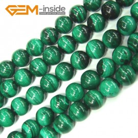 "G4125 7mm Round Gemstone Natural Malachite Grade A Jewelry Making Stone Loose Beads 15"" Natural Stone Beads for Jewelry Making Wholesale"
