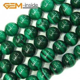 "G4127 9mm Round Gemstone Natural Malachite Grade A Jewelry Making Stone Loose Beads 15"" Natural Stone Beads for Jewelry Making Wholesale"