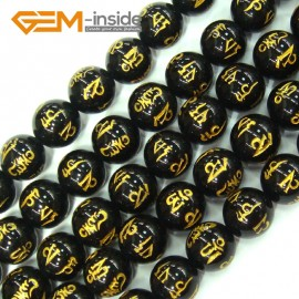 "G4146 Black Round Tibetan Agate Beads With Mantra Sign Gemstone Loose Beads 15"" 10mm Crafts Natural Stone Beads for Jewelry Making Wholesale"