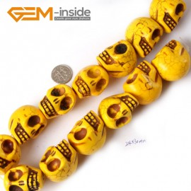 """G4207 Yellow 24x30mm Skeleton Shape Gemstone Howlite DIY Crafts Making Beads Strand 15"""" Natural Stone Beads for Jewelry Making Wholesale"""