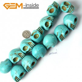 """G4210 Blue 24x30mm Skeleton Shape Gemstone Howlite DIY Crafts Making Beads Strand 15"""" Natural Stone Beads for Jewelry Making Wholesale"""