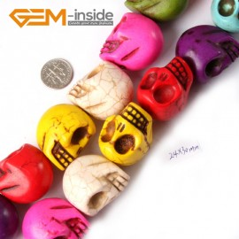 """G4213 Mixed Color 24x30mm Skeleton Shape Gemstone Howlite DIY Crafts Making Beads Strand 15"""" Natural Stone Beads for Jewelry Making Wholesale"""