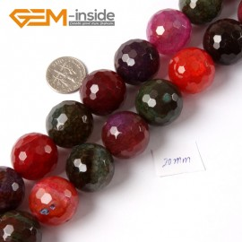 "G4219 20mm Round Faceted Gemstone Mixed Color Agate Jewelry Making Loose Beads Strand 15"" Natural Stone Beads for Jewelry Making Wholesale"