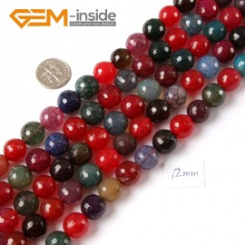 "G4223 12mm Round Faceted Gemstone Mixed Color Agate Jewelry Making Loose Beads Strand 15"" Natural Stone Beads for Jewelry Making Wholesale"