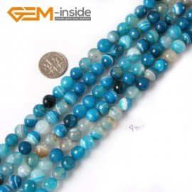 "G4238 8mm Round Faceted Gemstone Blue Banded Agate Crafts Making Beads Strand 15"" Natural Stone Beads for Jewelry Making Wholesale"