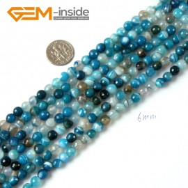 "G4239 6mm Round Faceted Gemstone Blue Banded Agate Crafts Making Beads Strand 15"" Natural Stone Beads for Jewelry Making Wholesale"