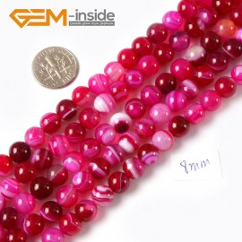 "G4243 8mm Round Gemstone Banded Plum Agate DIY Crafts Making Beads Strand 15"" Natural Stone Beads for Jewelry Making Wholesale"