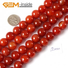 "G4263 12mm Round Gemstone Banded Red Agate DIY Crafts Making Stone Loose Beads Strand 15"" Natural Stone Beads for Jewelry Making Wholesale"