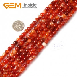 "G4266 6mm Round Gemstone Banded Red Agate DIY Crafts Making Stone Loose Beads Strand 15"" Natural Stone Beads for Jewelry Making Wholesale"