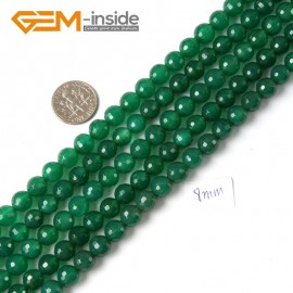 """G4283 8mm Round Faceted Green Agate Beads Jewelry Making Gemstone Loose Beads Strand 15"""" Natural Stone Beads for Jewelry Making Wholesale"""
