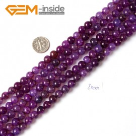 """G4296 8mm Round Gemstone Purple Crackle Agate Jewelry Crafts Making Loose Beads Strand 15"""" Natural Stone Beads for Jewelry Making Wholesale"""