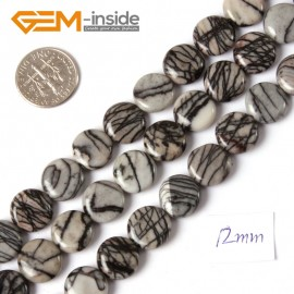 "G4304 12mm Coin Gemstone Black Web Jasper DIY Crafts Making Stone Beads Strand 15""  Natural Stone Beads for Jewelry Making Wholesale"