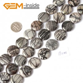 "G4307 18mm Coin Gemstone Black Web Jasper DIY Crafts Making Stone Beads Strand 15""  Natural Stone Beads for Jewelry Making Wholesale"