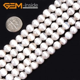 "G4364 8mm White Round Faceted Ring Line Color Gemstone Banded Agate Beads Strand 15"" Natural Stone Beads for Jewelry Making Wholesale"
