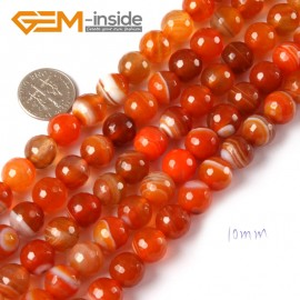 "G4366 10mm Round Faceted Gemstone Banded Orange Agate DIY Crafts Making Beads Strand 15"" Natural Stone Beads for Jewelry Making Wholesale"