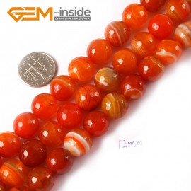 "G4367 12mm Round Faceted Gemstone Banded Orange Agate DIY Crafts Making Beads Strand 15"" Natural Stone Beads for Jewelry Making Wholesale"