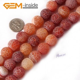 "G4371 14mm Round Frost Gemstone Red Agate DIY Crafts Jewelry Making Loose Beads Strand 15"" Natural Stone Beads for Jewelry Making Wholesale"