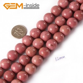 """G4393 12mm Round Smooth Gemstone Rhodochrosite Beads Jewelry Making Loose Beads Strand 15"""" Natural Stone Beads for Jewelry Making Wholesale"""