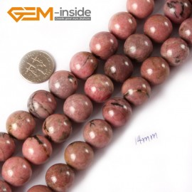 """G4394 14mm Round Smooth Gemstone Rhodochrosite Beads Jewelry Making Loose Beads Strand 15"""" Natural Stone Beads for Jewelry Making Wholesale"""