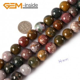 """G4474 14mm Natural Round Mixed Color Ocean Jasper Beads Jewelry Making Loose Beads 15"""" Natural Stone Beads for Jewelry Making Wholesale"""